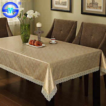 Wholesale Personalized Custom Plastic Felt Backed Gold Tablecloths Lace  Tablecloth Rectangle