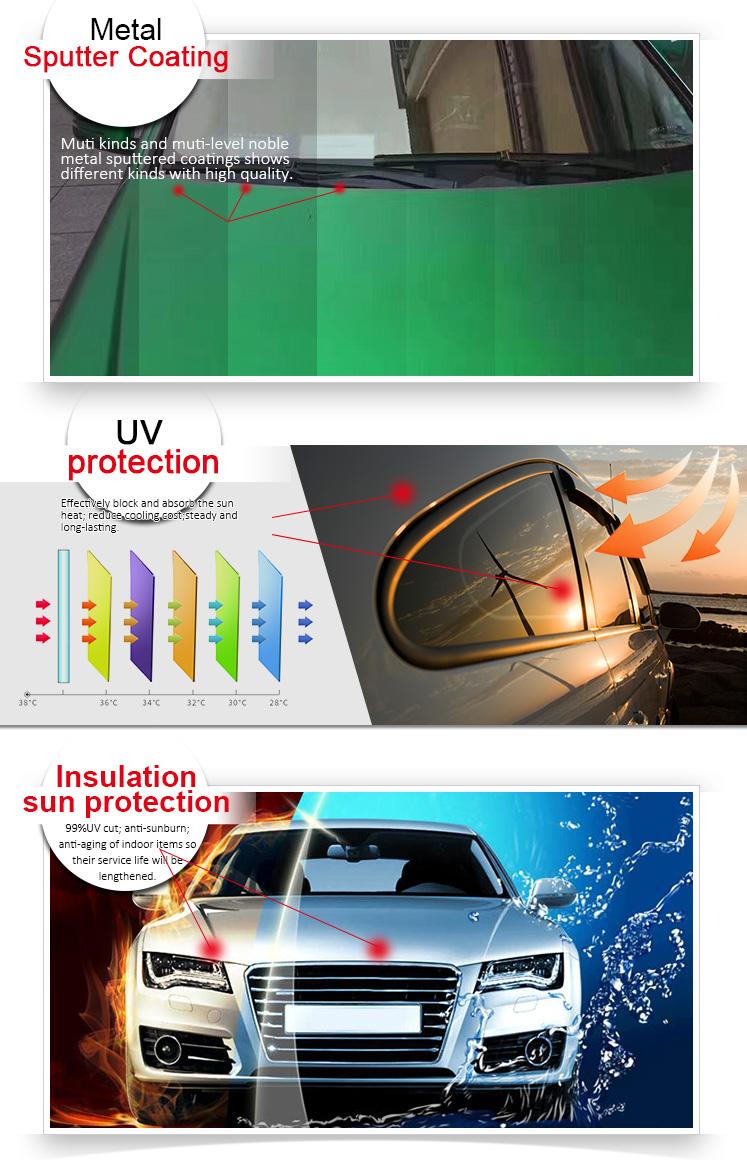 UVR 99% IRR90 % Magnetron Warmte reflecterende Tint Huisdier Roll Sputteren Car Window Film