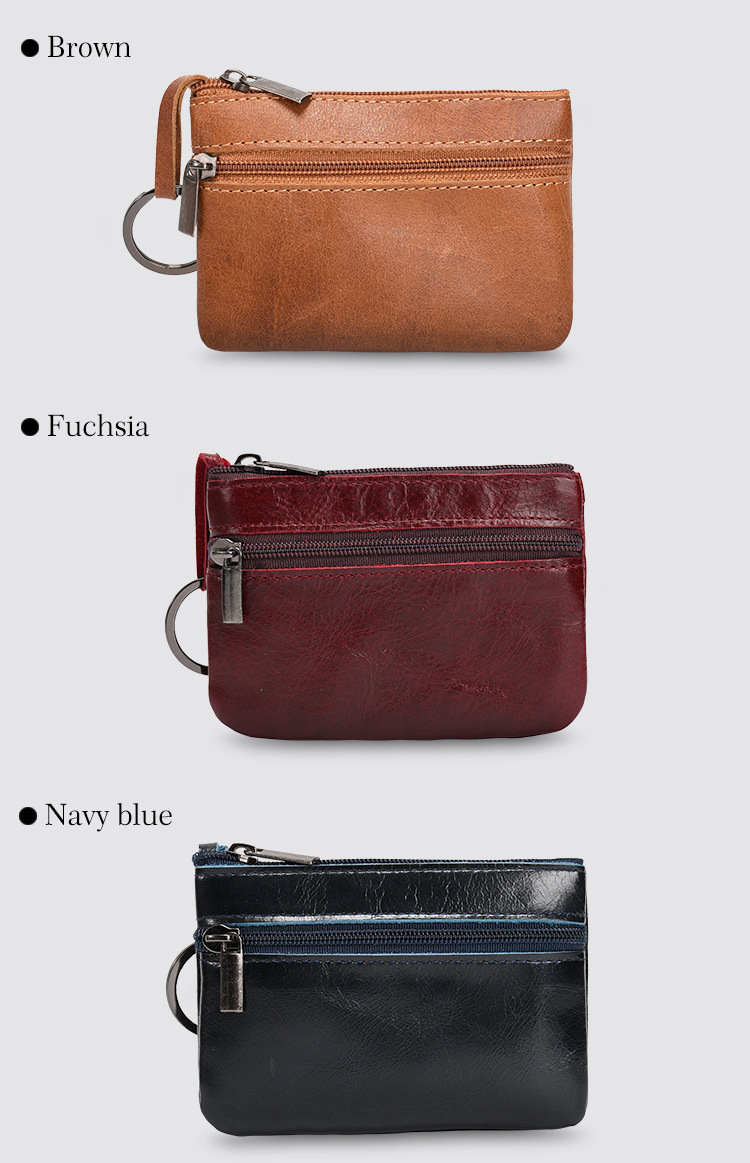 Genuine Leather Mini Wallet With Keyring Coin Purse