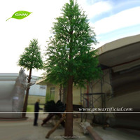 Landscape Fake Tree 16ft Artificial Pine Tree with Wooden Branches Fiberglass Trunk for Park Scenery