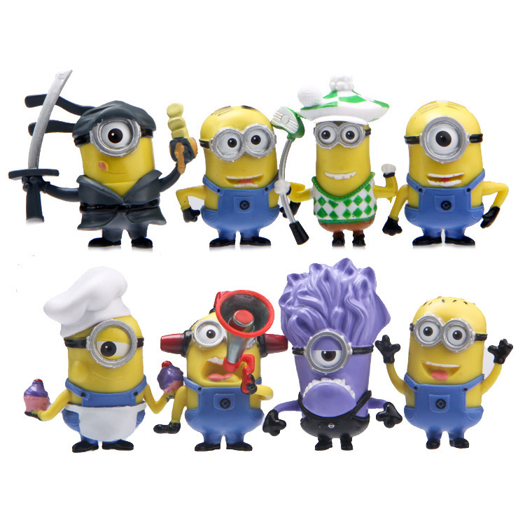 Best Quality 8PCS/SEt kids Toys MINIONS TOYS doll lps anime toy Environmental Protection Harmless Home decoration MataMata 0010