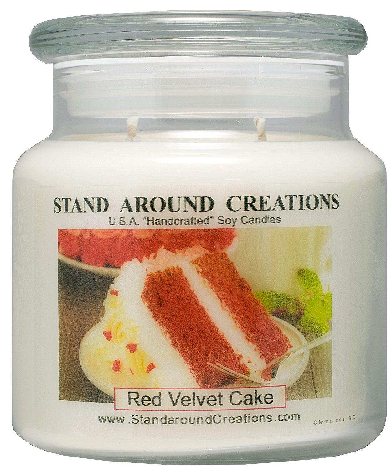 Premium 100% Soy Apothecary Candle - 16 oz. - Red Velvet Cake - A decadent blend of chocolate cake w/ sweet cream cheese frosting.