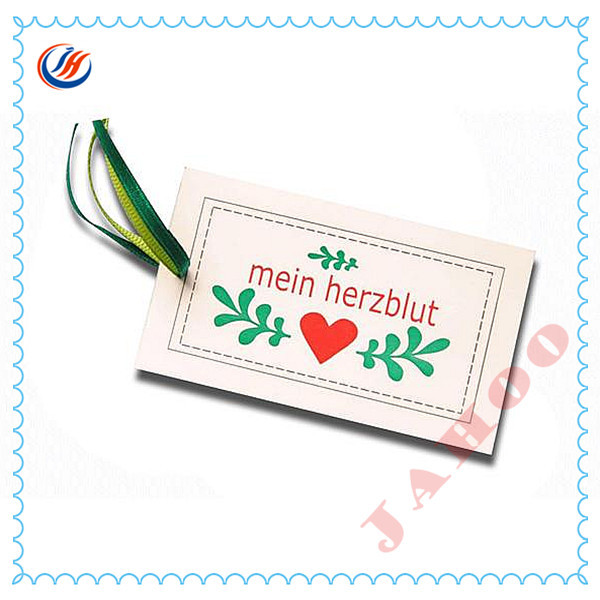 Custom White Paper Hang Tag With Printing For Garment