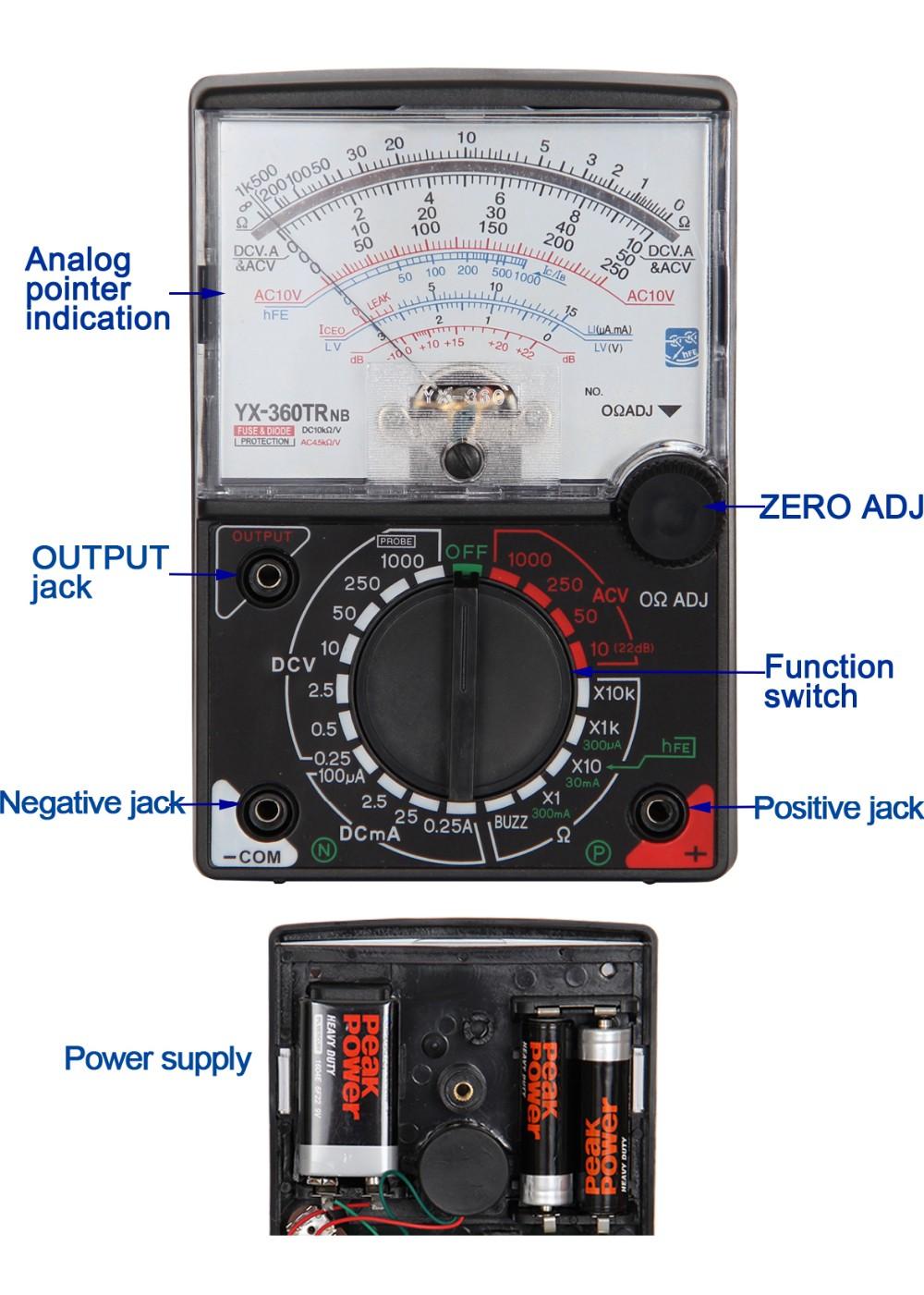 Analog Multimeter Analog Meter Multimeter Voltage Meter Current Meter Yx360  Tester Yx360trnb - Buy Sanwa Analog Multimeter,Digital Analog