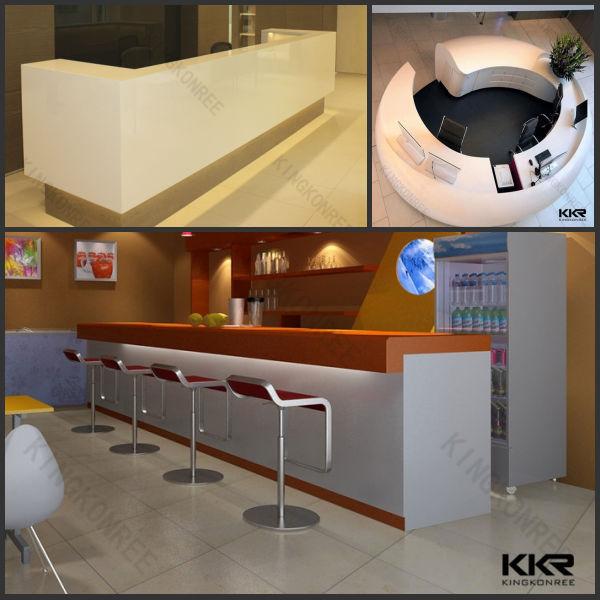 Half round shape solid surface reception desk reception for Solid salon