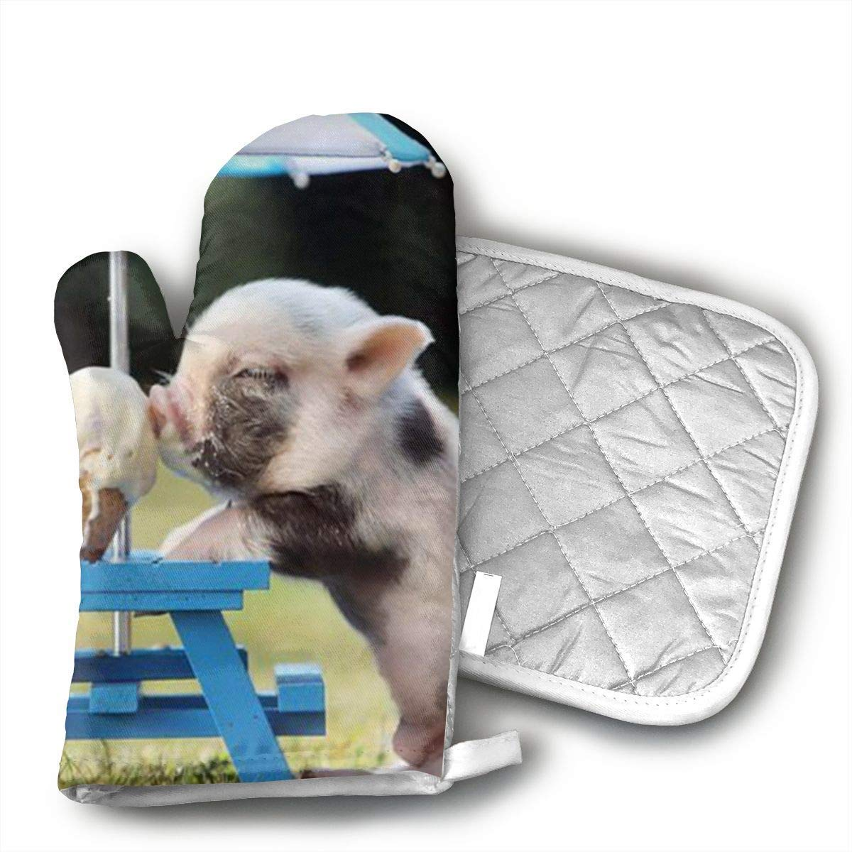 Cute Pig Eat Ice Cream Yourtablecloth Set of Oven Mitt and Pot Holder Or Oven Gloves-100% Cotton, High Heat Resistance, Superior Protection & Comfort¨CElegant Design