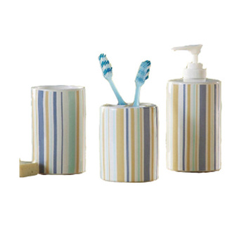 Elegant pastel blue stripe ceramic bathroom accessory set bath decor