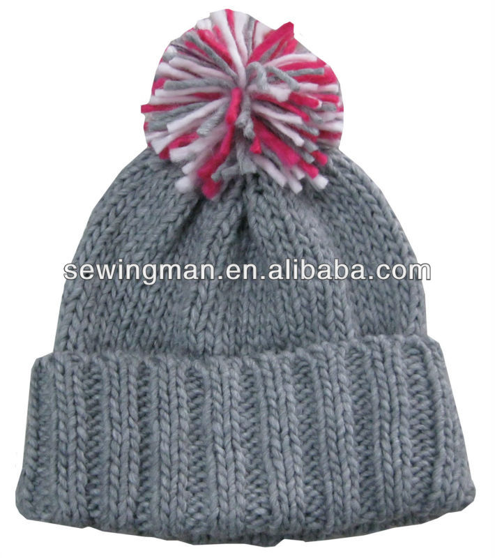 iceland yarn plain thick knitting hat with rib cuff and multicolor pompom