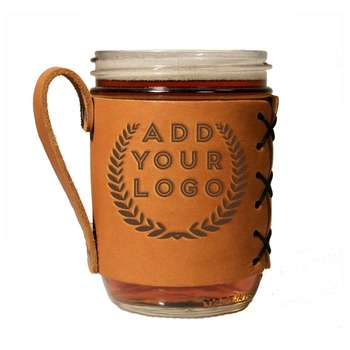 High quality portable genuine leather wide-mouth 16oz mason jar sleeve coffee cup holder with handle