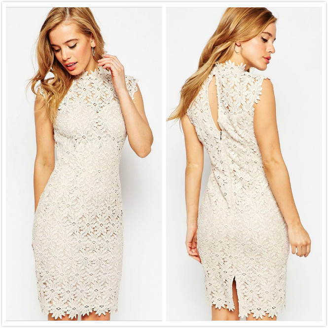 2eccc83e07f Get Quotations · 2015 Fashion White Lace Applique Turtleneck Sleeveless mini  dress Slim Package hip High Neck Party Dresses