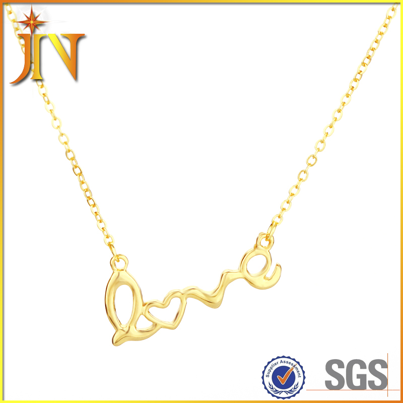 EN0396 JN Clavicle Women Necklace LOVE Letters Simulated Pendant Colar Everyday Wear Fashion lady Jewelry