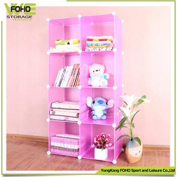 Diy Pp Plastic Magic Bookcase 8 Cubes Corner Bookshelves Small White ...
