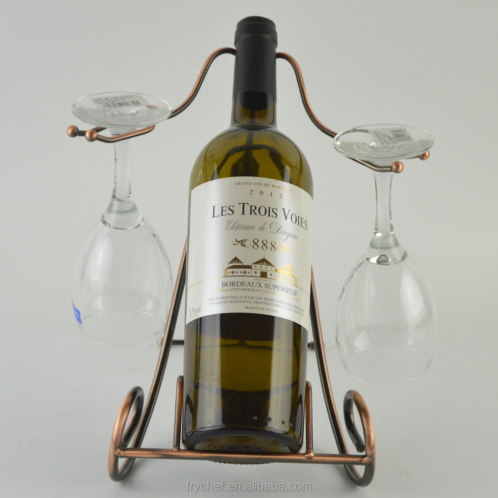 Metal One Bottle Countertop Wine Holder Free Standing Rack For Table