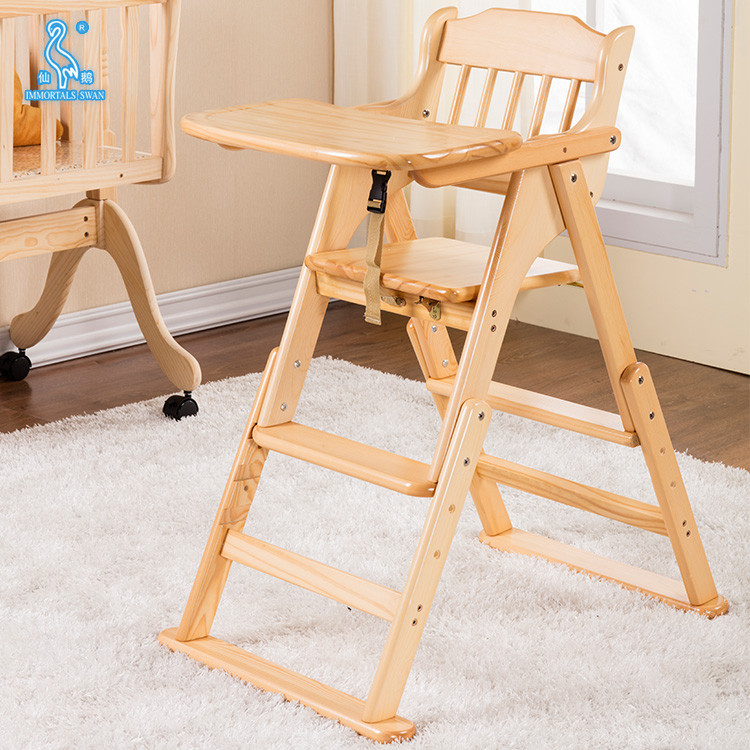 Safety Design Multi-Function Wooden Baby High Chair For Feeding