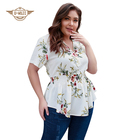 Summer Ladies Plus Size Casual Tops Floral Printed Zipper V-neck Blouses And Shirts
