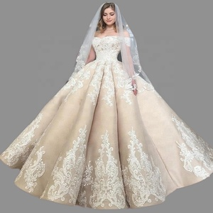 Luxury Champagne Lace Wedding Dress Ball Gown Sweetheart Bridal Gown 2019 Dresses Bride