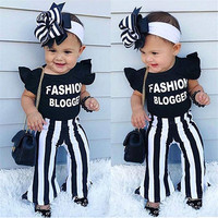 Children Clothing Sets toddler girl boutique outfits black ruffle sleeve tops+stripe pants 2pcs kids summer clothing