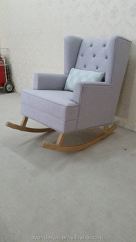 Tufted Upholstered Glider Chair And Ottoman Wooden Baby Rocking Chair