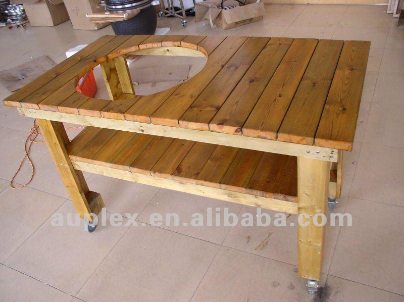 Mesa de madera barbacoa partido soporte para la parrilla kamado de cer mica grill barbecueau - Mesa para barbacoa ...