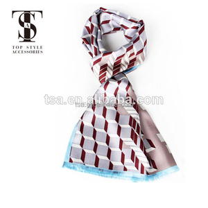 wholesale plain white silk scarves for dying 3D visual entertainment water cube high-end scarf