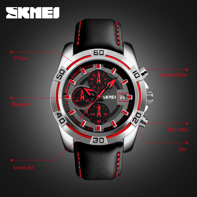 Skmei Nice Quartz Stopwatch Genuine Leather Strap Watch For Wholesale High End Fashion Watch Mens