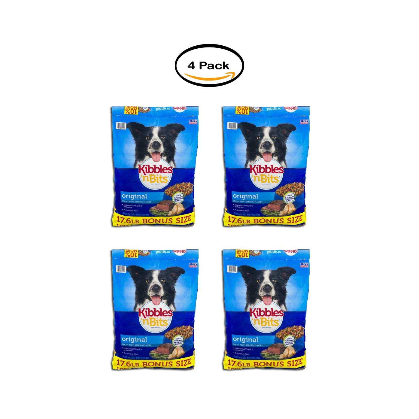 PACK OF 4 - Kibbles 'N Bits Original Savory Beef and Chicken Dry Dog Food, 17.6 Lb