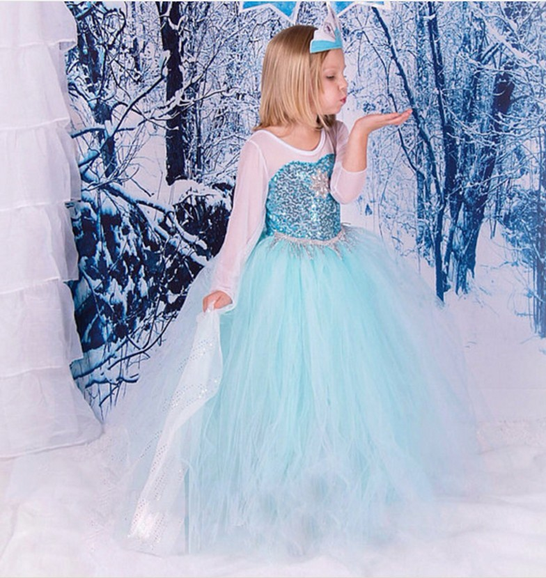 Frozen Costume Online Baby Apparel Angel Sequins Flower Girls Dress With Veil BX1699