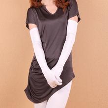 100% de seda feminina de seda de verão luvas de protecção solar capa dedos longas luvas