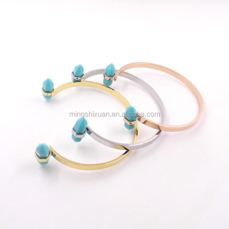 Minimalist Jewelry-Stainless steel Bullet resin natural stone bracelet for girl,super items