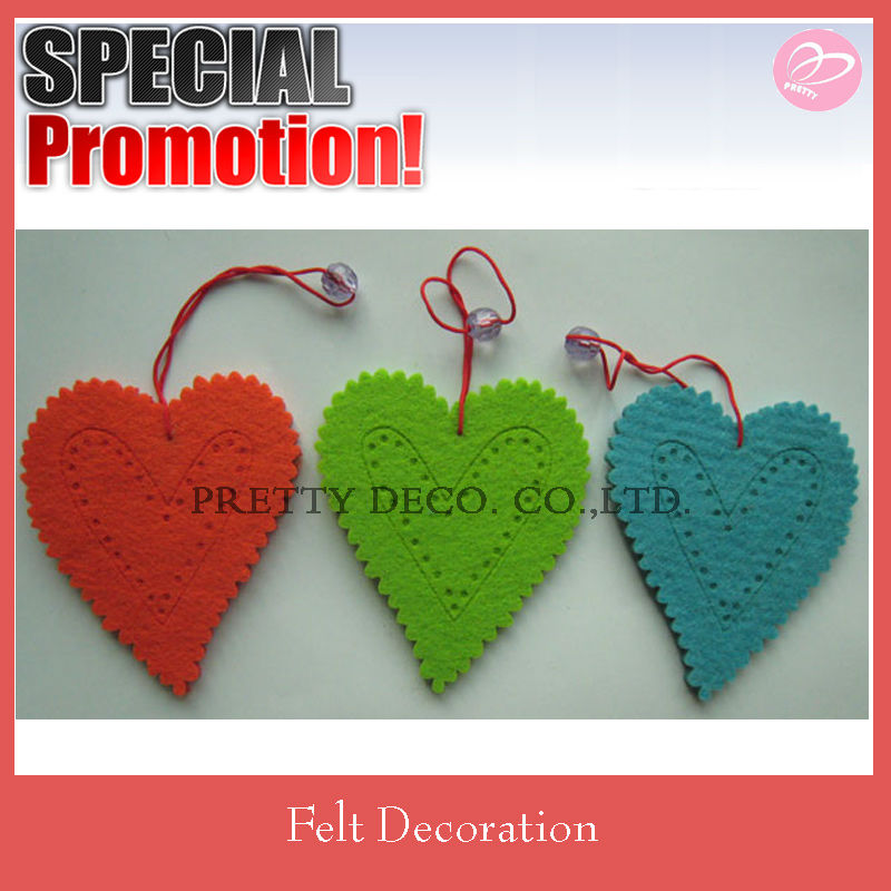Heart shaped felt hanging decoration