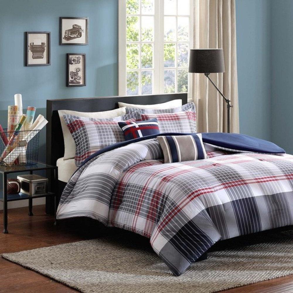 4pc Red Dark Blue Grey Madras Plaid Comforter Twin XL Set, Country Woven Pattern, Glen Checkered Bedding, Burgundy Light Gray Navy Off White, Tartan Check Stripe Lodge Cabin Themed