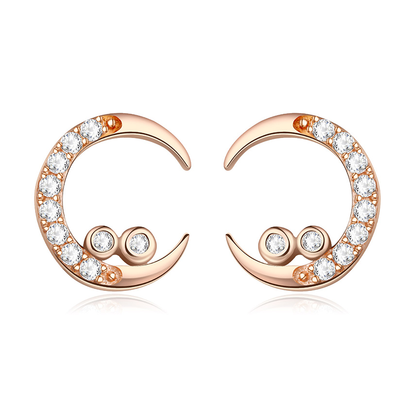 925 Sterling Silver Ear Stud Curved Shape Earring Post With AAA Zircon For Women Wedding Party Jewelry 2-13y2389a