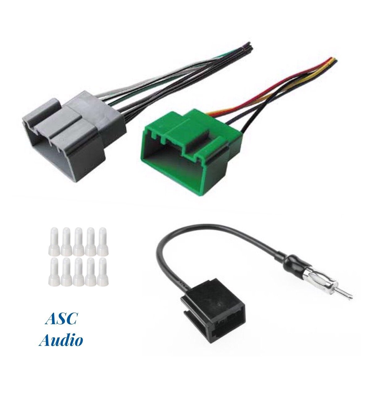 ASC Audio Car Stereo Radio Wire Harness and Antenna Adapter to Install an  Aftermarket Radio for