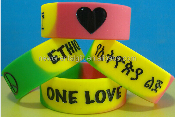 1 Inch Ink Filled Silicone Wristbands/ 1 Inch Segmented Silicone Wristbands