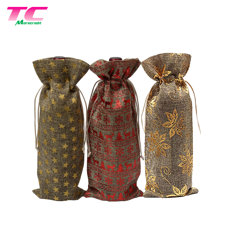 Hessian Wedding Wine Bottle Carry Gift Bags Hemp Burlap Bag For Whole Packaging Importers