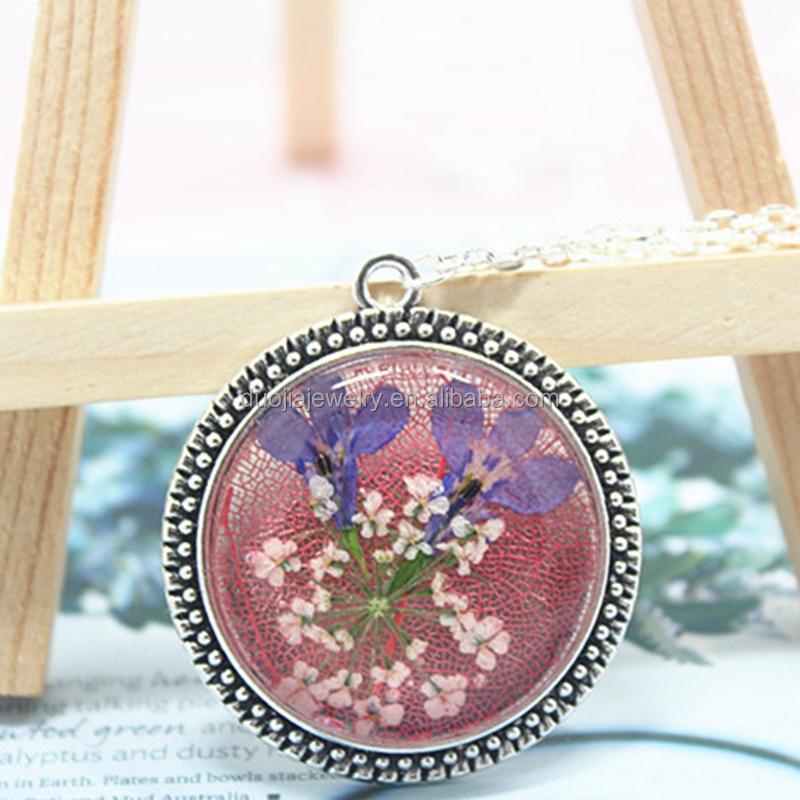 women accessories dropship beautiful natural dried flower glass pendant necklace