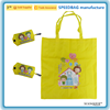 yellow 190T polyester foldable bag shopping bag