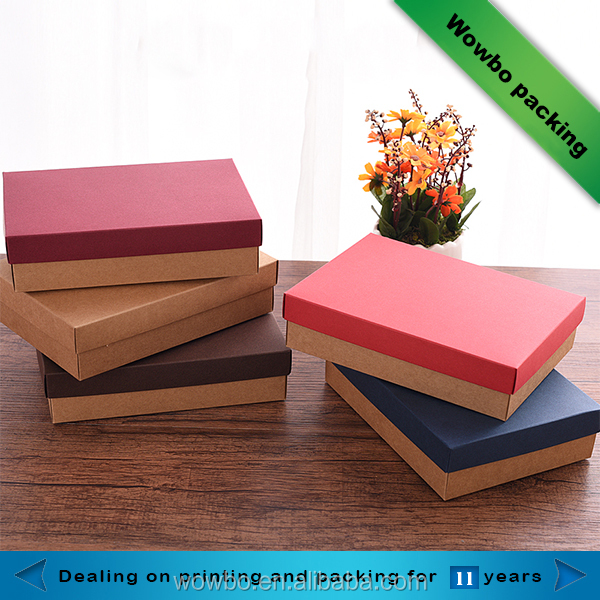 Colored deluxe red blue craft paper storage gift box with lid