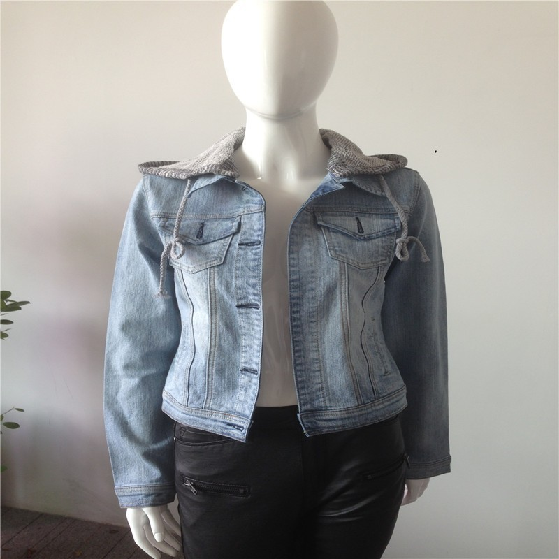2015 Autumn Womens slim fit Denim Jackets/ ladies stretchy denim jacket/women light blue washed denim jeackets