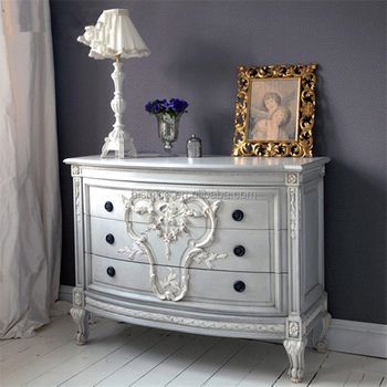 French Provincial Vintage Grey Blue Wooden Chest Of Drawers Bedroom ...