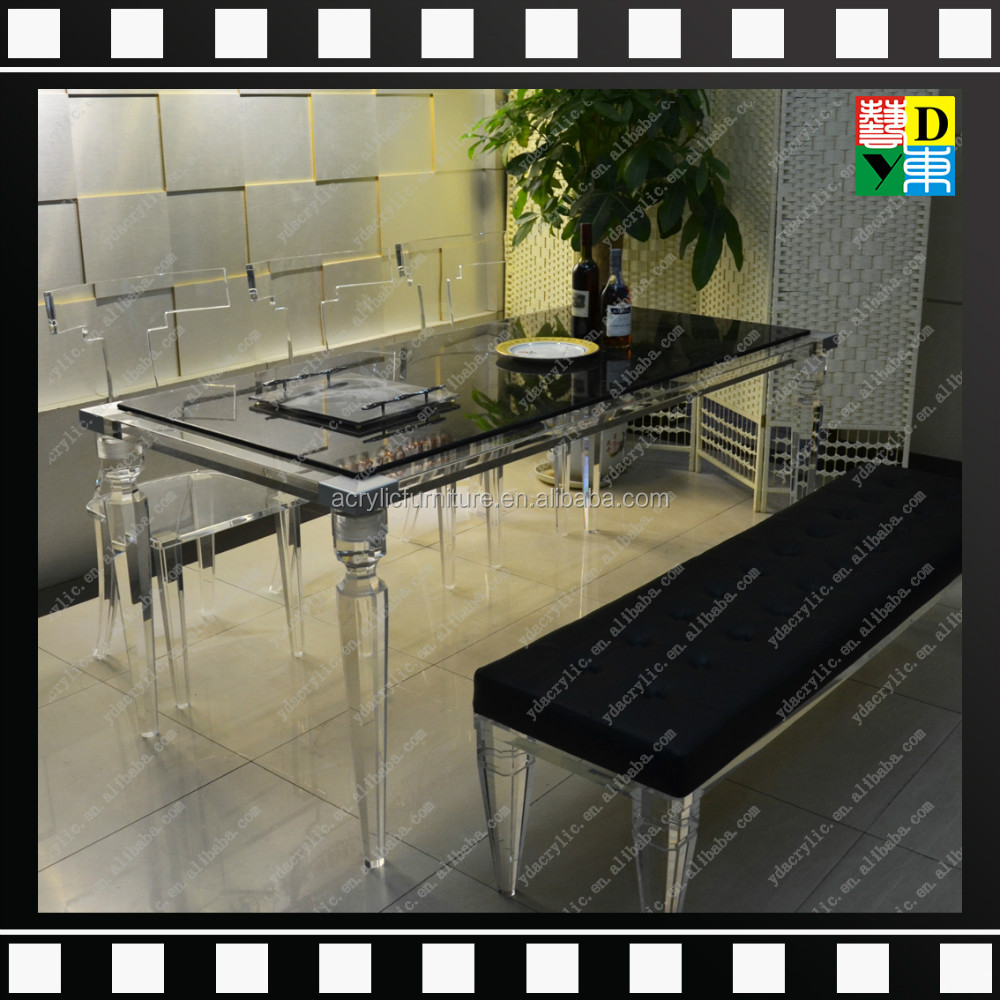 Plexi luxury design acrilico dinning table set elegante - Table plexi design ...