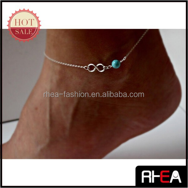 EIGHT WORD AND TURQUOISE BEADED HEEL CHAIN METAL CHAIN ANKLET FOOT CHAIN
