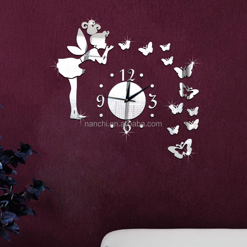 Pò di salto della ragazza farfalla diy orologio da parete angelo ...