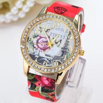 2015 New Design Flower Rhinestone Girls Watches Clock Wrist Watch