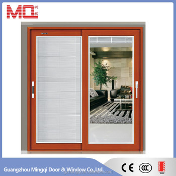 Aluminum sliding double glass door with venetian blinds
