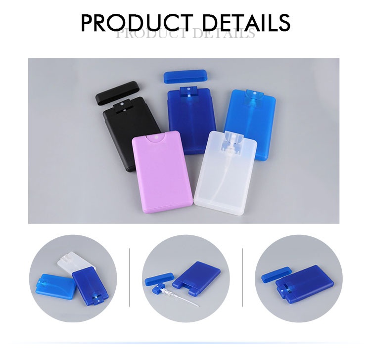 Custom travel pink blue 20ml PP plastic portable pocket perfume atomizer
