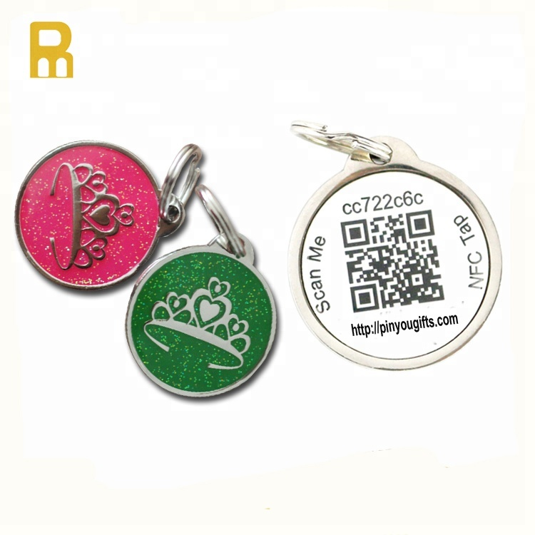 NFC QR code barcode dog tag ID number pet tag