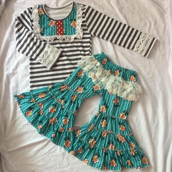 2017 cheap high quality baby clothes gallus floral print top and Pure colour ruffle short baby fashion clothes online