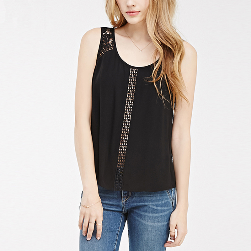 987d5f0fd13fa 2015 lace stitching vest and black chiffon summer crochet round neck strap  buttons back slits chiffon