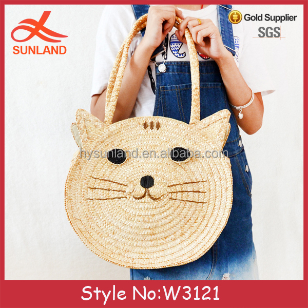 W3121 New fashion customize Straw Beach Straw Vintage Handwoven straw basket bag